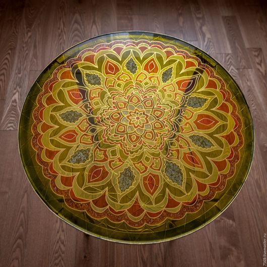 Мебель ручной работы. Ярмарка Мастеров - ручная работа. Купить Кофейный столик с витражной росписью в теплых тонах. Handmade. Комбинированный