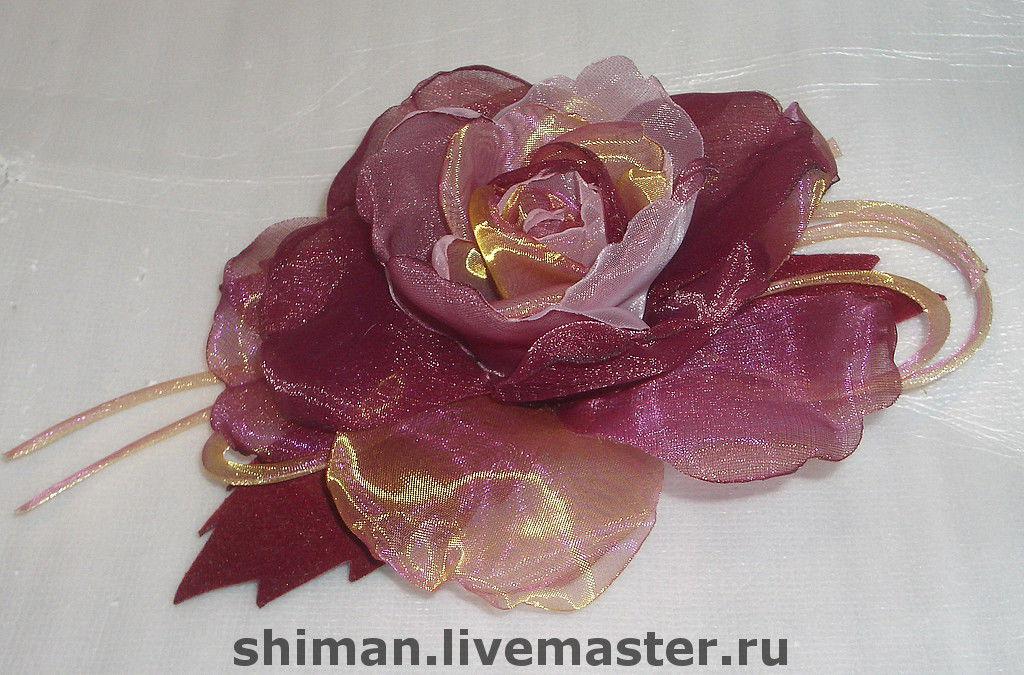 Розы из органзы для букета своими руками