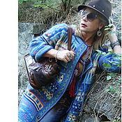 Одежда ручной работы. Ярмарка Мастеров - ручная работа Пальто вязаное жаккардовое демисезонное в этно стиле. Handmade.
