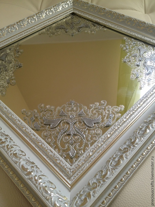 Зеркала ручной работы. Ярмарка Мастеров - ручная работа. Купить Зеркало настенное, настольное Серебряный иней. Handmade. Серебряный