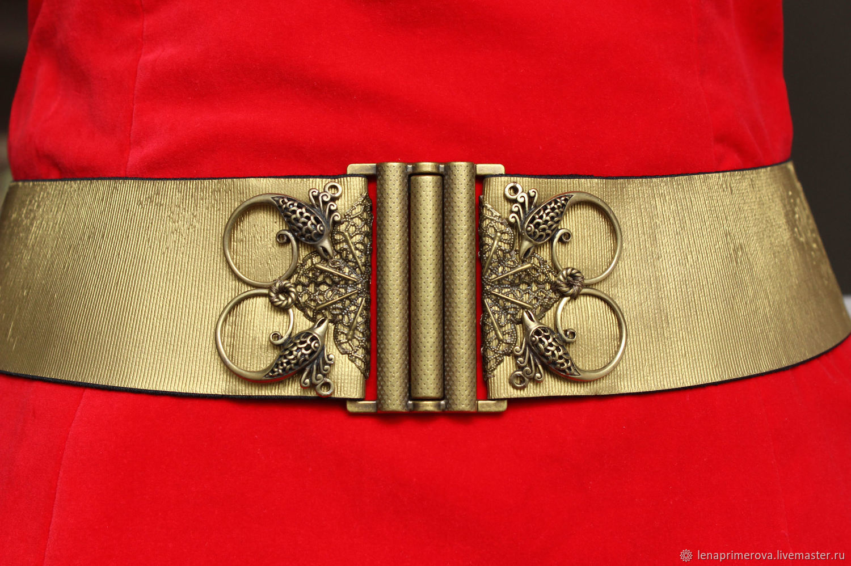 belt-elastic band gold Birds 1 60mm wide, metal decor, Belt, Moscow,  Фото №1