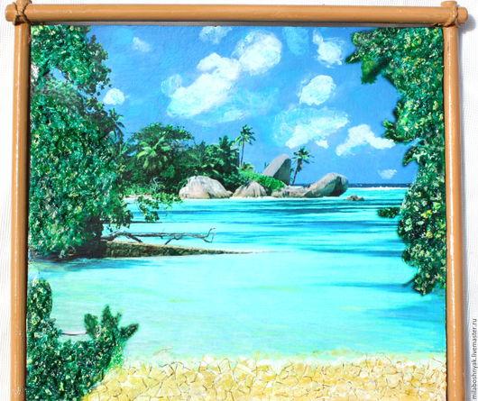 """Пейзаж ручной работы. Ярмарка Мастеров - ручная работа. Купить Панно объемное  """"Мальдивы"""". Handmade. Разноцветный, панно на стену, мальдивы"""