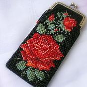 Сумки и аксессуары handmade. Livemaster - original item Eyeglass case beaded scarlet rose. Handmade.