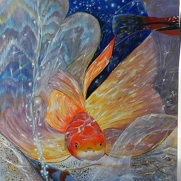 """Картины и панно ручной работы. Ярмарка Мастеров - ручная работа Картина с рыбой """"Исполнение желаний"""" - картина маслом. Handmade."""