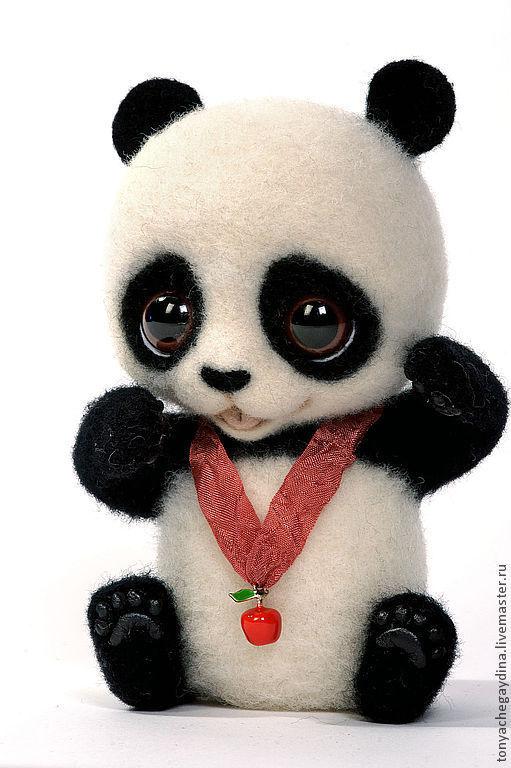 Игрушки животные, ручной работы. Ярмарка Мастеров - ручная работа. Купить Панда валяная Боня. Handmade. Панда, шерсть