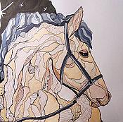 Pictures handmade. Livemaster - original item The moon horse painting graphics. Handmade.