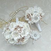 Свадебный салон ручной работы. Ярмарка Мастеров - ручная работа белый свадебный букет невесты из брошей и цветов ручной работы. Handmade.