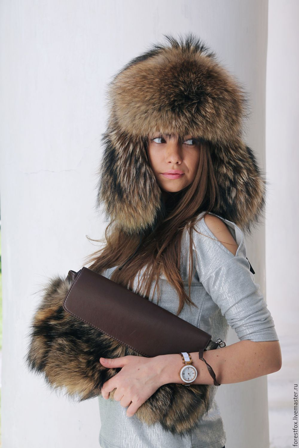 Raccoon fur hat with earflaps, Hat with ear flaps, Moscow,  Фото №1