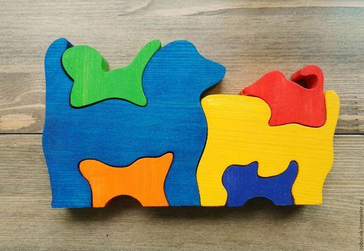 """Развивающие игрушки ручной работы. Ярмарка Мастеров - ручная работа. Купить Живой пазл """"Собачки"""". Handmade. Рыжий, развивающая игрушка"""