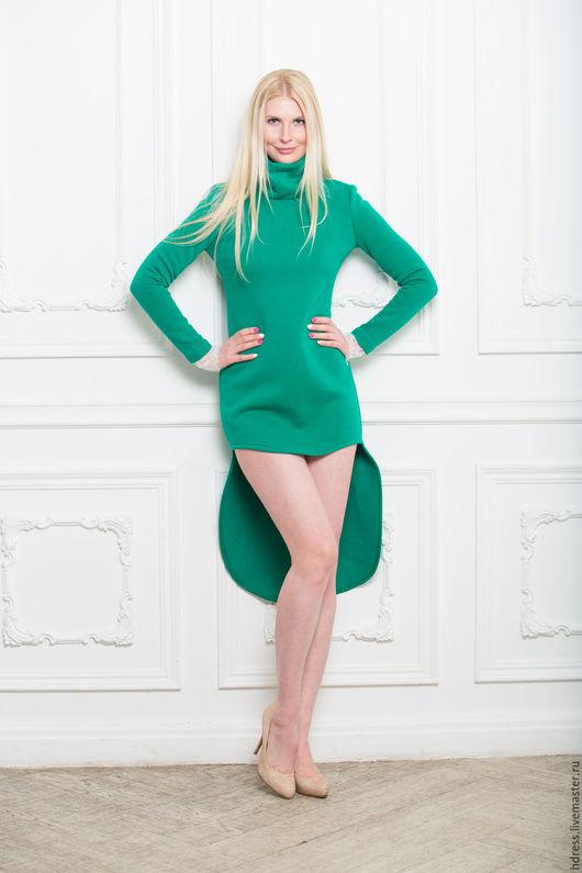 Платья ручной работы. Ярмарка Мастеров - ручная работа. Купить Зеленое платье из утепленного трикотажа. Handmade. Зеленое платье