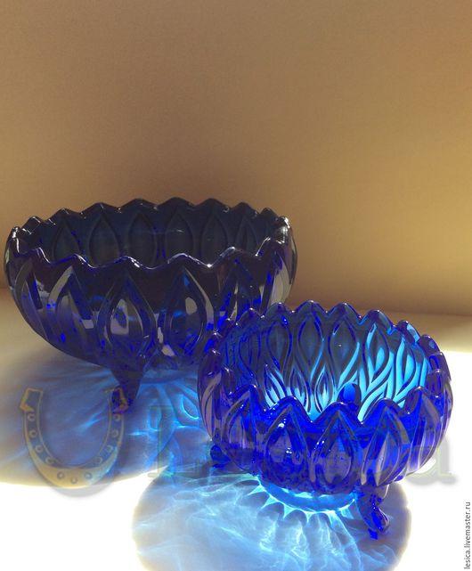Винтажные предметы интерьера. Ярмарка Мастеров - ручная работа. Купить Вазочка конфетница салатник синее стекло Германия. Handmade. Синий