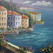 """Картины и панно ручной работы. Ярмарка Мастеров - ручная работа Картина маслом """"Средиземноморье. Пейзаж с цветами 2"""" в раме. Handmade."""