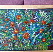 Картины и панно handmade. Livemaster - original item flowers on blue.. Handmade.