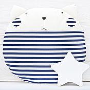 Для дома и интерьера ручной работы. Ярмарка Мастеров - ручная работа Декор для детской, подушка круглая, подушка кот, синяя подушка. Handmade.