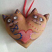 Подарки к праздникам ручной работы. Ярмарка Мастеров - ручная работа Сердце - пара котиков.. Handmade.