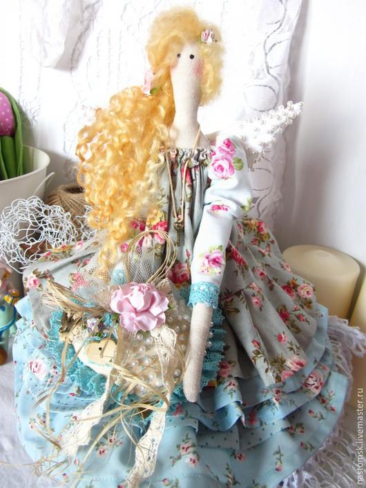 Куклы Тильды ручной работы. Ярмарка Мастеров - ручная работа. Купить Тильда Ангел Кукла текстильная Селестина. Handmade. Синий