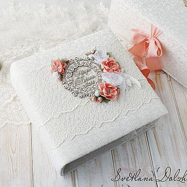 """Свадебный салон ручной работы. Ярмарка Мастеров - ручная работа Свадебный альбом """"Cloud lace"""" в коробке белый кружево. Handmade."""