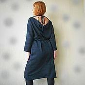 Одежда ручной работы. Ярмарка Мастеров - ручная работа Вязаное платье с карманом-сумкой темно-синее. Handmade.