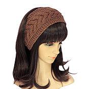 Аксессуары handmade. Livemaster - original item Headband with a braid, knitted hair Cocoa. Handmade.