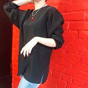 Одежда ручной работы. Ярмарка Мастеров - ручная работа Блузка шелк натуральный черная. Handmade.