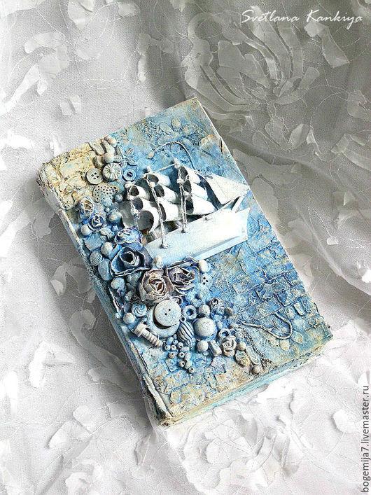 """Фоторамки ручной работы. Ярмарка Мастеров - ручная работа. Купить Альтербук """"Белые паруса"""" для интерьера ( цвет голубой). Handmade."""