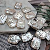 Материалы для творчества handmade. Livemaster - original item 1 PCs. Baroque pearls 13-15x18-21mm rectangle AA white (3663). Handmade.