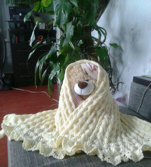 Текстиль, ковры ручной работы. Ярмарка Мастеров - ручная работа. Купить Вязаный детский пледик. Handmade. Плед