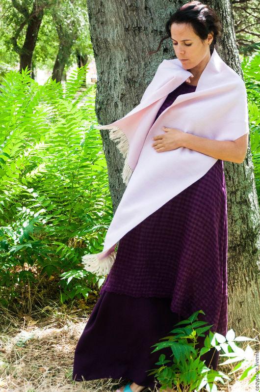 Шарфы и шарфики ручной работы. Ярмарка Мастеров - ручная работа. Купить Домотканый женский шарф Powder pink. Handmade.