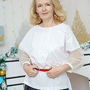 Одежда handmade. Livemaster - original item Blouse white cotton sleeveless silk organza blouse Light. Handmade.