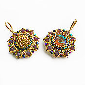 handmade. Livemaster - original item Anemone earrings with Swarovski crystals gold Plated. Handmade.
