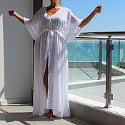 Одежда ручной работы. Ярмарка Мастеров - ручная работа Белая пляжная шифоновая туника, кафтан, макси летнее платье. Handmade.