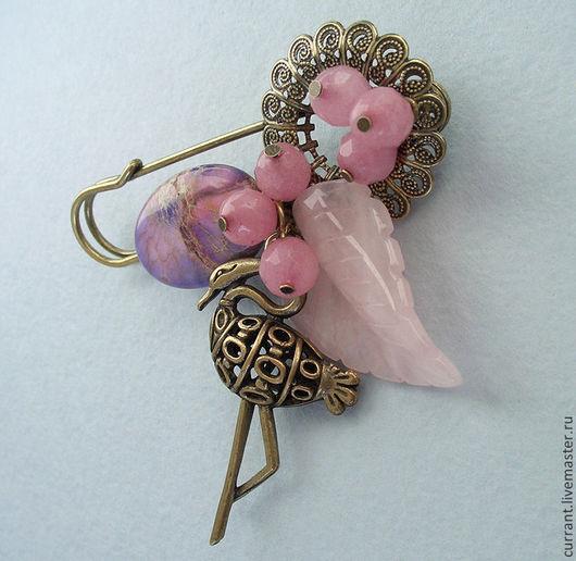 """Броши ручной работы. Ярмарка Мастеров - ручная работа. Купить Брошь """"Розовый фламинго"""" - варисцит, розовый кварц, морганит. Handmade."""