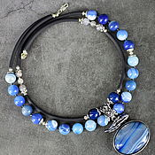 Украшения handmade. Livemaster - original item Natural Agate Author`s necklace with pendant grey and blue agate. Handmade.