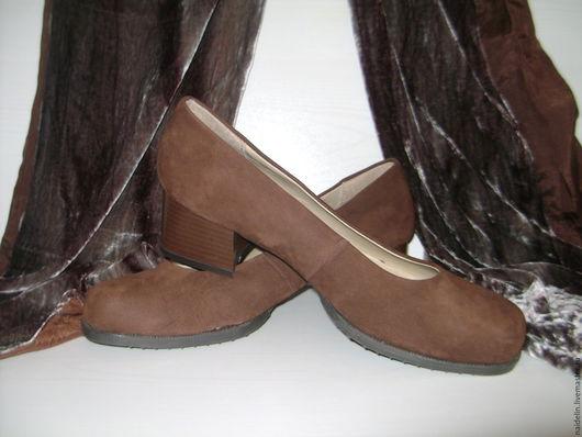 Винтажная обувь. Ярмарка Мастеров - ручная работа. Купить Туфли женские замшевые размер 38-39 новые. Handmade. кежуал