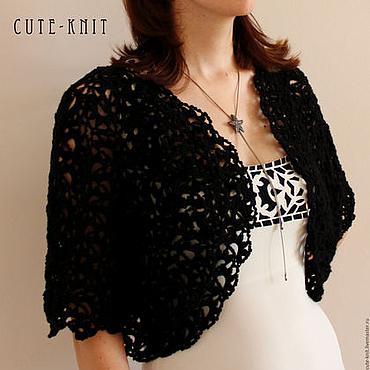 Одежда ручной работы. Ярмарка Мастеров - ручная работа Черное вязаное болеро ажурное. Handmade.