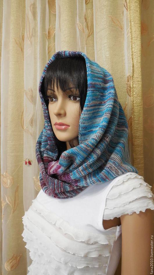 Шали, палантины ручной работы. Ярмарка Мастеров - ручная работа. Купить Меланжевый снуд-шарф в 2 оборота из полушерсти Радужное деграде. Handmade.