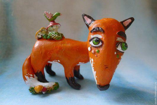 Статуэтки ручной работы. Ярмарка Мастеров - ручная работа. Купить Грибная лисичка. Handmade. Рыжий, лиса, Керамика, глиняная лиса