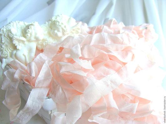 Открытки и скрапбукинг ручной работы. Ярмарка Мастеров - ручная работа. Купить Шебби-лента Теплая роза. Handmade. Бледно-розовый