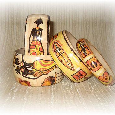Украшения ручной работы. Ярмарка Мастеров - ручная работа Бежевый комплект женских деревянных браслетов Африка. Оранжевый желтый. Handmade.