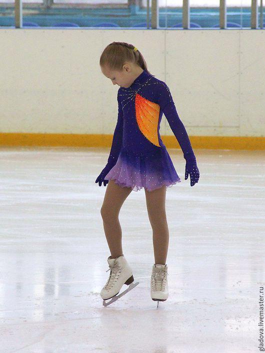 Спортивная одежда ручной работы. Ярмарка Мастеров - ручная работа. Купить Платье для фигурного катания. Handmade. Тёмно-синий, спорт