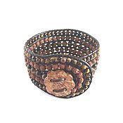 Украшения handmade. Livemaster - original item Cuff bracelet with rudraksha beads. Handmade.