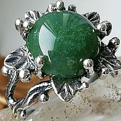 Украшения handmade. Livemaster - original item Ring with natural moss agate