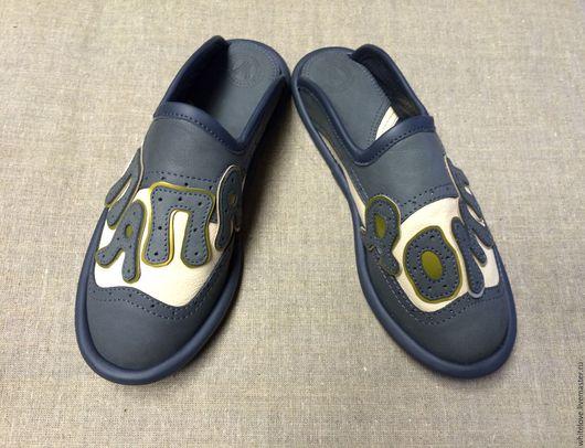 """Обувь ручной работы. Ярмарка Мастеров - ручная работа. Купить Кожаные тапочки """" ПАПА ДОМА-3"""". Handmade. Комбинированный"""