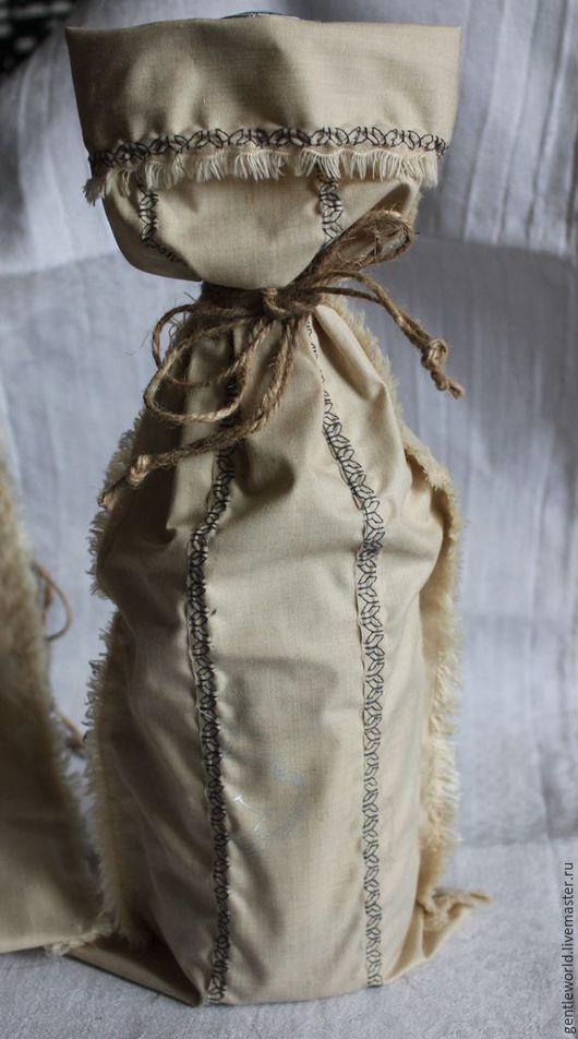Упаковка ручной работы. Ярмарка Мастеров - ручная работа. Купить мешочек для бутылки с вышивкой. Handmade. Бежевый, мешочек для подарка
