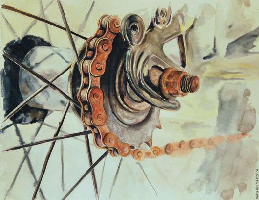 Велосипедная цепь старого велосипеда с благородной ржавчиной. Спицы колеса как сеть. Акварель в черных, серых, рыжих тонах. Картина акварелью в подарок велосипедисту, спортсмену или путешественнику.