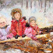 """Картины и панно ручной работы. Ярмарка Мастеров - ручная работа Картина """"Зимние каникулы"""".. Handmade."""