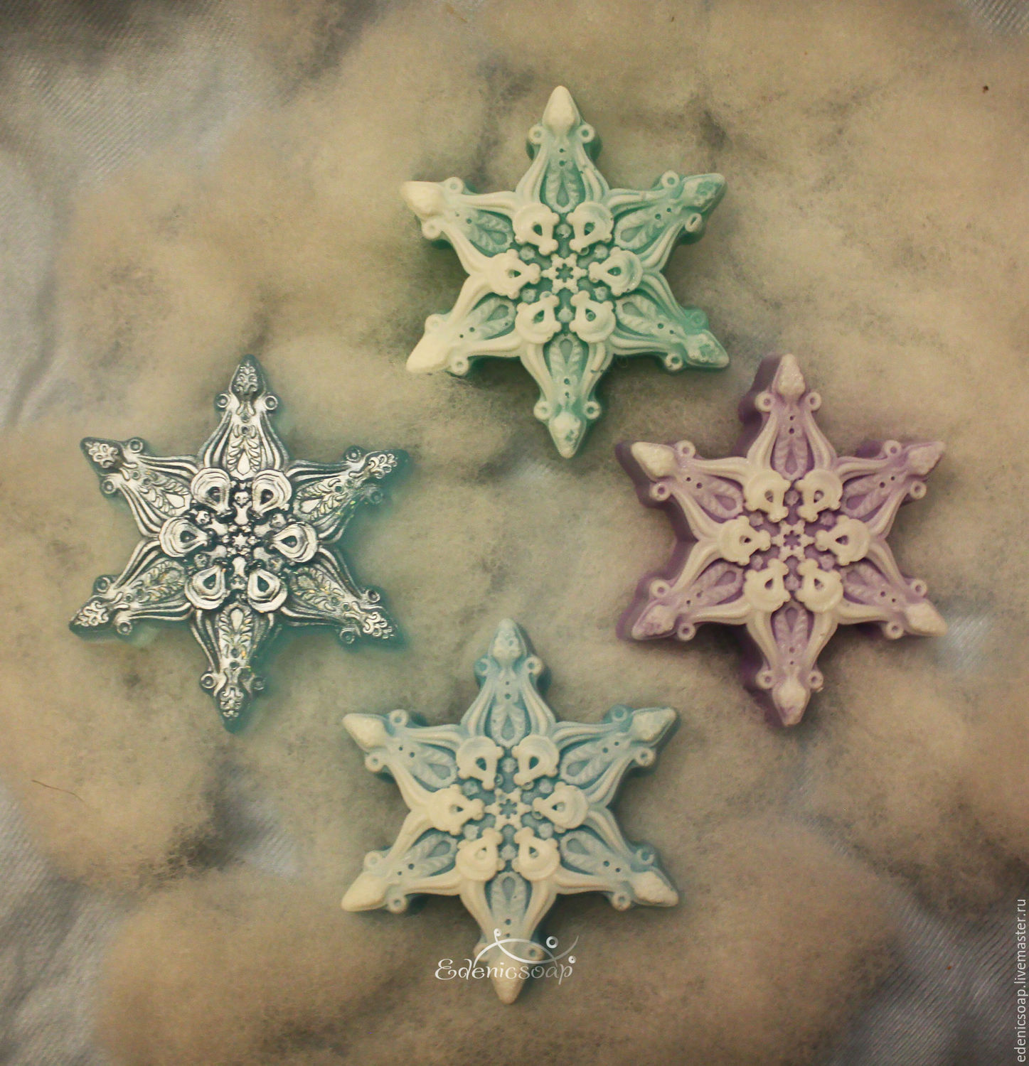 Soap delicate snowflakes. NEW YEAR. The handmade gifts.Edenicsoap.