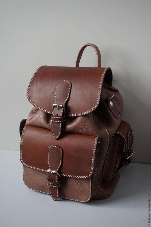 Рюкзаки ручной работы. Ярмарка Мастеров - ручная работа. Купить Коричневый рюкзак 40 см. Handmade. Коричневый, толстая кожа