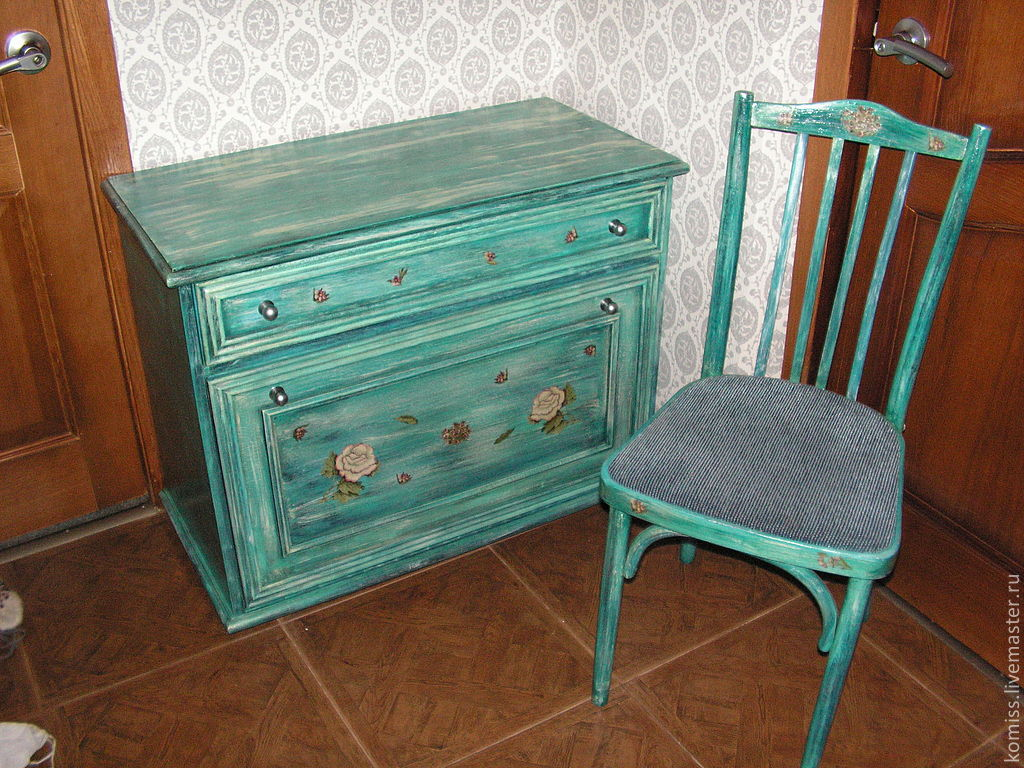 """Купить Голубой комплект в прихожую в стиле """"шебби-шик"""" - синий, реставрация мебели, декупаж работы"""