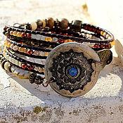 Украшения ручной работы. Ярмарка Мастеров - ручная работа браслет с бисером  и бусинами медовый. Handmade.